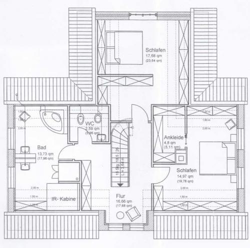 Ferienhaus Lissy-Mary auf Sylt - Grundriss Obergeschoss